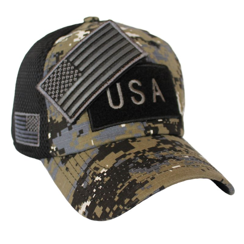 Black Digital Camo American Flag Velcro Patch Hat
